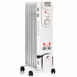 1500W Electric Oil Filled Radiator Space Heater 5-Fin Thermo